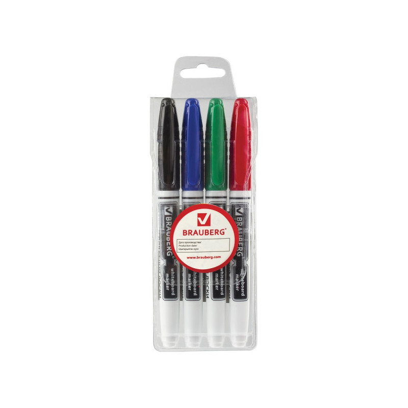Маркеры для доски BRAUBERG, набор 4 штуки, эргономичный корпус, круглый наконечник 4 мм (черный, синий, красный, зеленый)