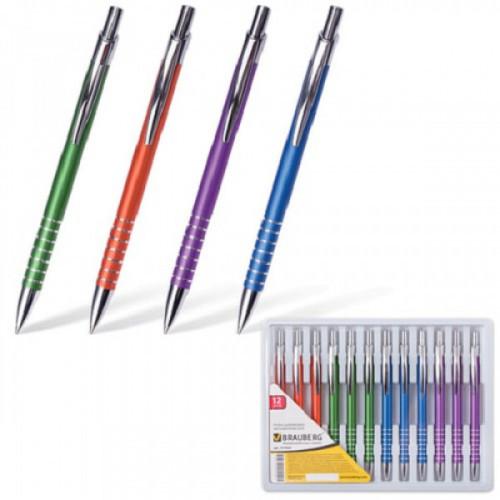 """Ручка бизнес-класса шариковая BRAUBERG """"Gentleman"""", корпус ассорти, узел 1 мм, линия письма 0,7 мм, синяя, 141426"""