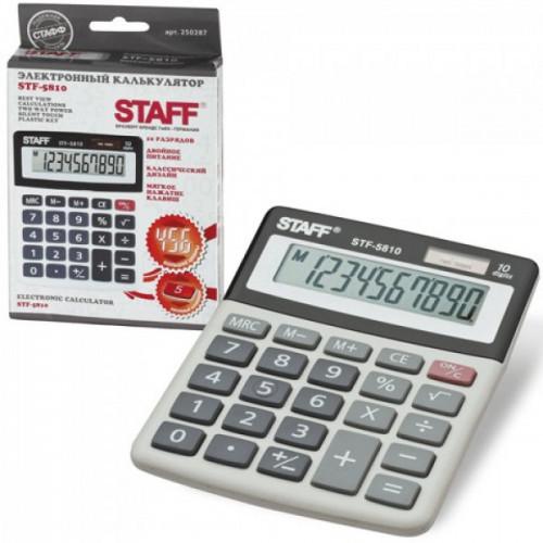Калькулятор STAFF настольный STF-5810, 10 разрядов, двойное питание, 134х107 мм, 250287