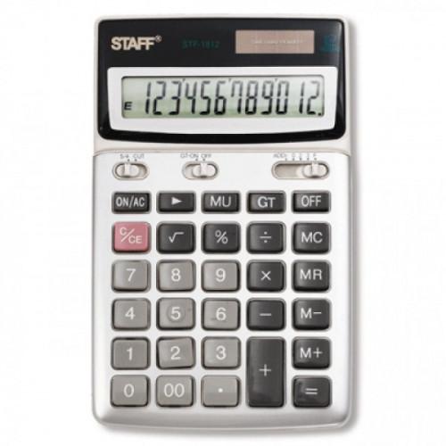 Калькулятор STAFF настольный металлический STF-1612, 12 разрядов, двойное питание, 175х107 мм, 250120