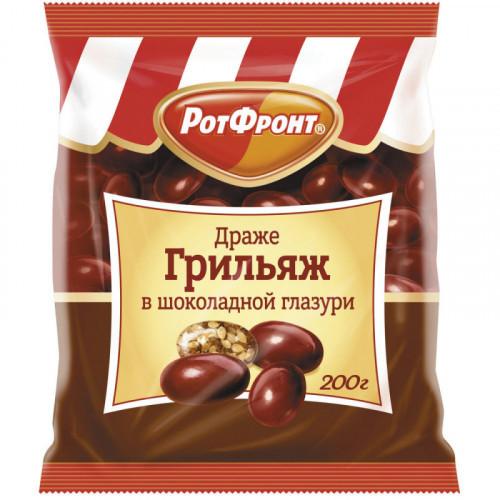 """Драже РОТ ФРОНТ """"Грильяж"""" в шоколадной глазури, 200 г, пакет, РФ06575"""