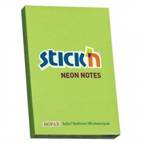 Cамоклеящийся блок STICK'N, 51x76, неон зеленый, 100 листов