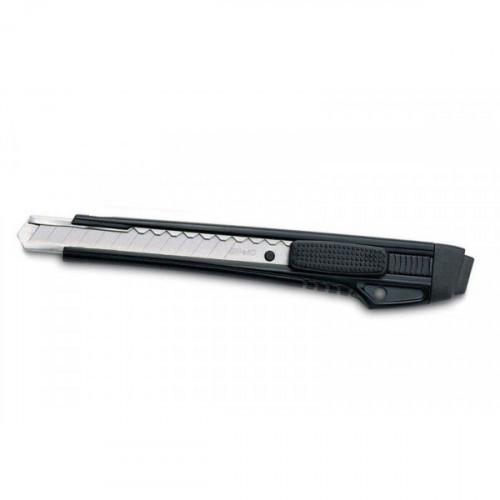 Нож канцелярский Kw-Trio 9мм усиленный 2 сменных лезвия/комплект металл черный блистер
