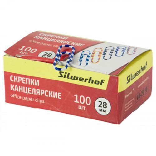 Скрепки Silwerhof 492020 Зебра пластиковая оболочка овальные 28мм ассорти (упак.:100шт) картонная коробка