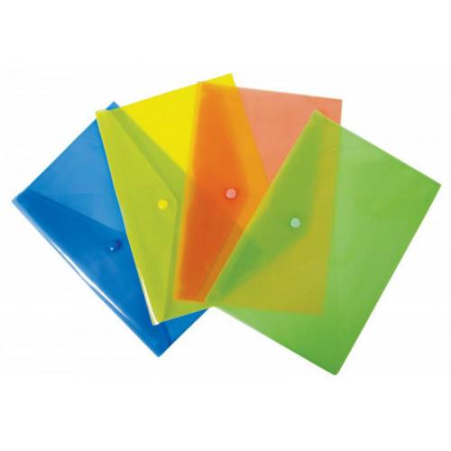 Папка-конверт на кнопке, А4, 180мкм, пластик, ассорти, Бюрократ -PK803A/1