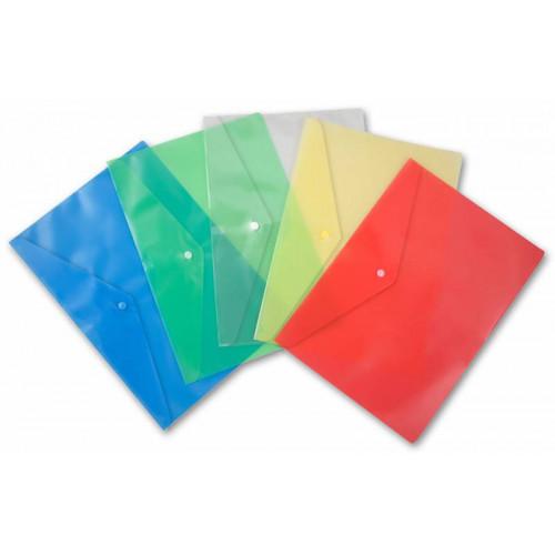 Папка-конверт на кнопке, А5, 180мкм, пластик, ассорти, Бюрократ -PK804A5/1