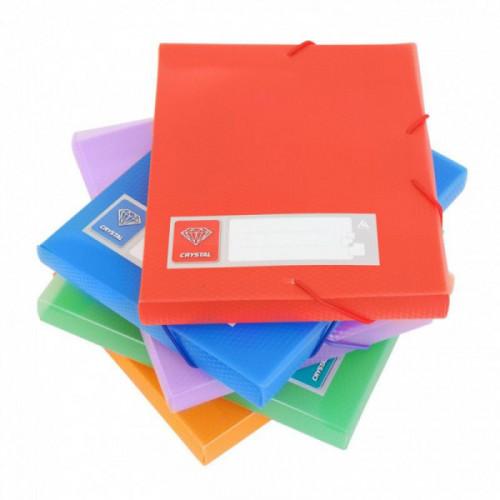 Папка на резинке, А5, 700мкм, 40мм, пластик, ассорти, резинка по углам, Бюрократ Crystal