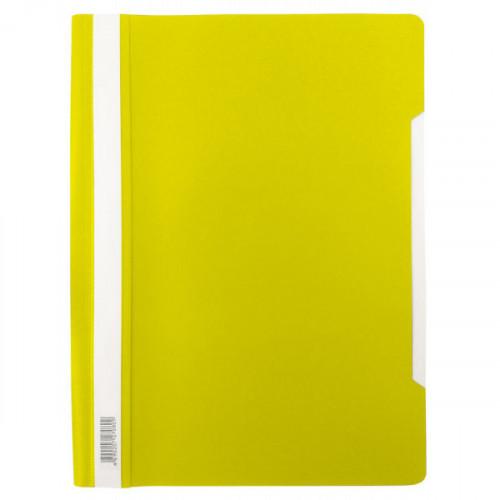 Папка-скоросшиватель, А4, 140/180мкм, желтая с прозрачным верхом, Бюрократ