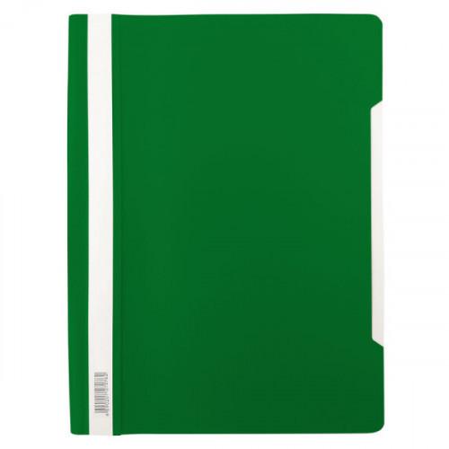 Папка-скоросшиватель, А4, 140/180мкм, пластик, зеленый с прозрачным верхом, Бюрократ Люкс -PSL20GRN A4