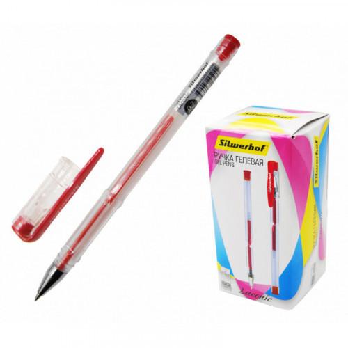 Ручка гелевая красная, 0,7 мм, корпус прозрачный, Silwerhof LACONIC (026173-04)