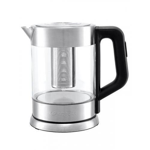 Чайник электрический Kitfort КТ-623 1.5л. 2200Вт серебристый (корпус: стекло)