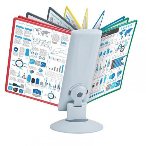 Демо-система MEGA Office FDS031 настольная вращающаяся 10 панелей светло серый/ассорти