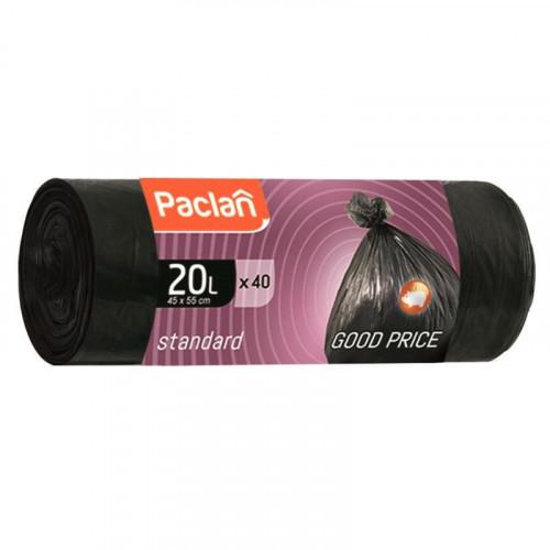 Пакеты для мусора Paclan STANDART 20 литров 40 штук 7,3 мкм НД