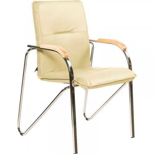 Конференц-стул Samba светло-бежевый (кожзам/бук/металл хромированный)