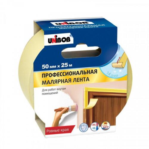 Клейкая лента малярная Unibob 50мм х 25м проф. для внутренних работ желтая
