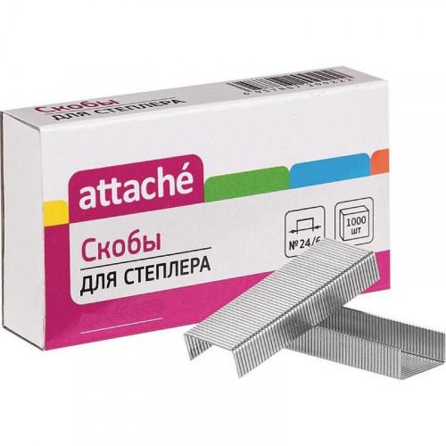 Скобы для степлера №24/6 никелированные, 1000 штук, Attache