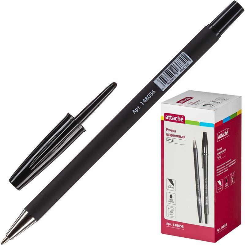 Ручка шариковая Attache Style 0,5мм прорезин.корп.черный ст.