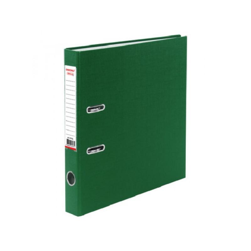 Папка с арочным механизмом 50 мм, пвх/бумага, зеленая, карман на корешке ОФИСМАГ