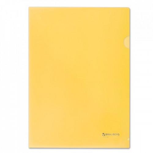 Папка-уголок А4 жесткая BRAUBERG, желтая, 0,15 мм