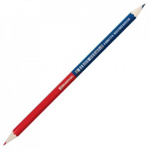 Карандаш двухцветный красно-синий BRAUBERG заточенный
