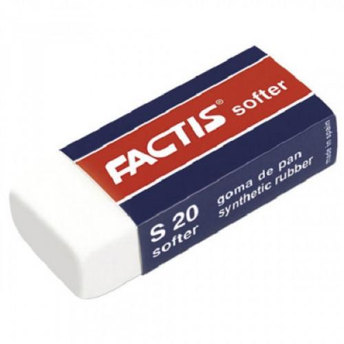 Ластик FACTIS Softer S 20 (Испания), 56х24х14 мм, картонный держатель, синтетический каучук, CMFS20