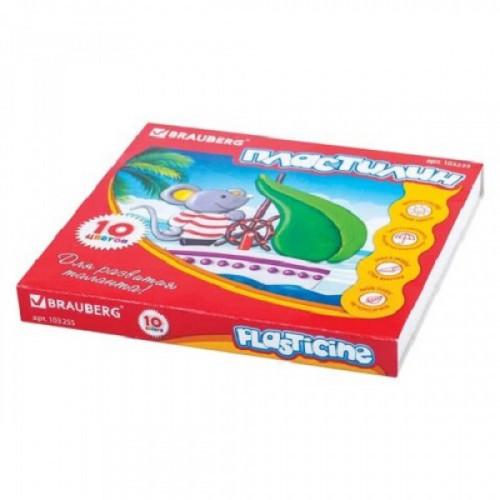Пластилин классический BRAUBERG, 10 цветов, 200 г, со стеком, картонная упаковка, 103255