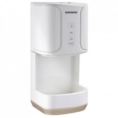 Сушилка для рук электрическая SONNEN HD-222, 1200 Вт, время сушки 15 секунд, каплесборник, пластик