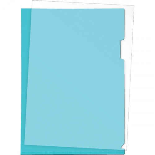 Папка-уголок пластик A4, 180 мкм, 1 отделение, гладкая фактура, прозрачная синяя, Attomex