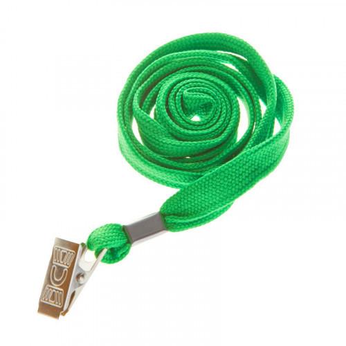 Шнурок для бейджей OfficeSpace, 45см, металлический клип, зеленый
