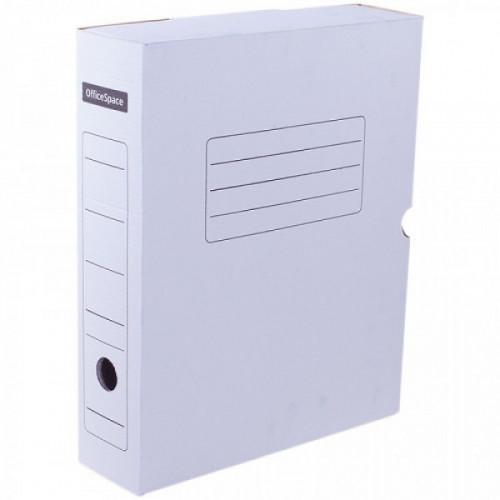 Короб архивный с клапаном OfficeSpace, микрогофрокартон,  75мм, белый, до 700л.