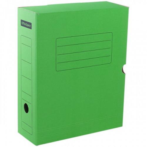 Короб архивный с клапаном OfficeSpace, микрогофрокартон,  75мм, зеленый, до 700л.