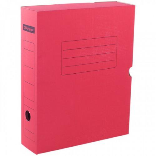 Короб архивный с клапаном OfficeSpace, микрогофрокартон,  75мм, красный, до 700л.