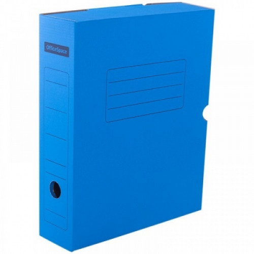 Короб архивный с клапаном OfficeSpace, микрогофрокартон,  75мм, синий, до 700л.