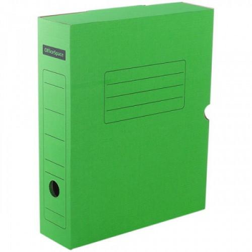 Короб архивный с клапаном OfficeSpace, микрогофрокартон, 100мм, зеленый, до 900л.