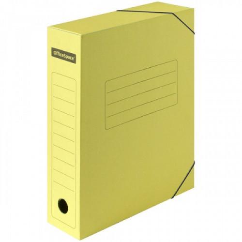Короб архивный на резинках OfficeSpace А4 микрогофрокартон желтый, 75мм до 700 листов