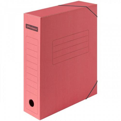 Короб архивный на резинках OfficeSpace А4 микрогофрокартон красный, 75мм до 700 листов