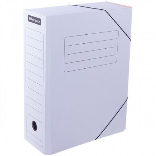 Папка архивная на резинках OfficeSpace, микрогофрокартон, 100мм, белый, до 900л.