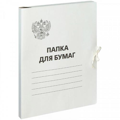 Папка с завязками OfficeSpace, Герб России, картон немелованный,300г/м2, белый, до 200л.