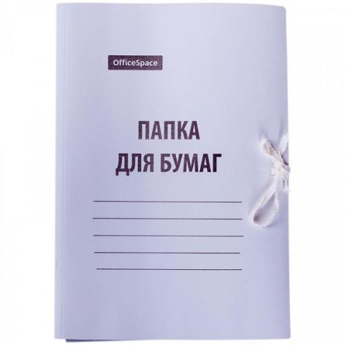 Папка с завязками OfficeSpace, картон мелованный, 280г/м2, белый, до 200л.