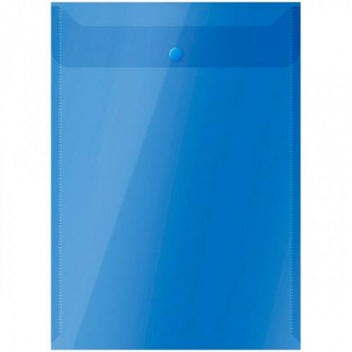 Папка-конверт на кнопке OfficeSpace  А4, вертикальная, 150мкм, полупрозрачная, синяя