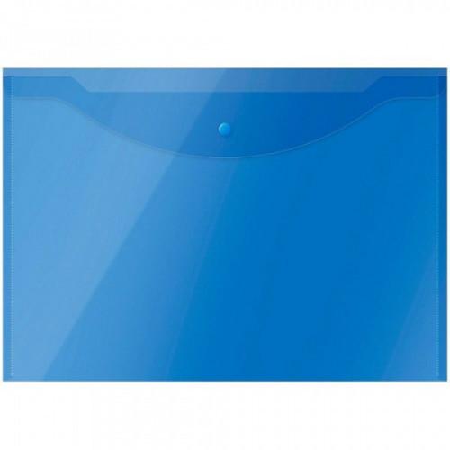 Папка-конверт на кнопке OfficeSpace А3, 150мкм, полупрозрачная, синяя