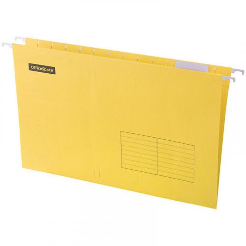Папка подвесная А4 365х240мм, картон, желтая, 80 листов, 10 штук, OfficeSpace Foolscap
