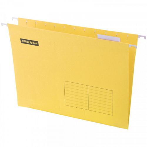 Папка подвесная А4, 310х240мм, картон, желтая, 80 листов, 10 штук, OfficeSpace