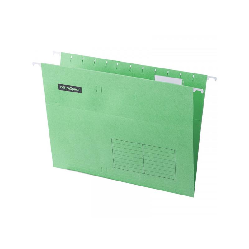 Папка подвесная А4, 310х240мм, картон, зеленая, 80 листов, 10 штук, OfficeSpace