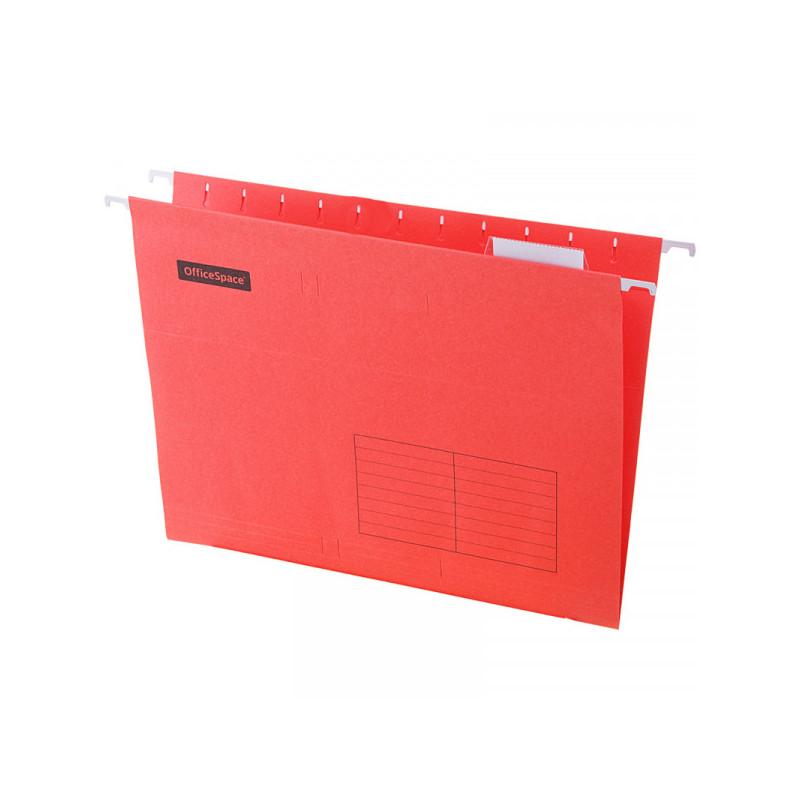 Папка подвесная А4, 310х240мм, картон, красная, 80 листов, 10 штук, OfficeSpace