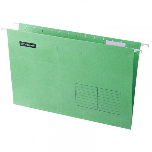 Папка подвесная А4, 365х240мм, картон, зеленая, 80 листов, 10 штук, OfficeSpace Foolscap