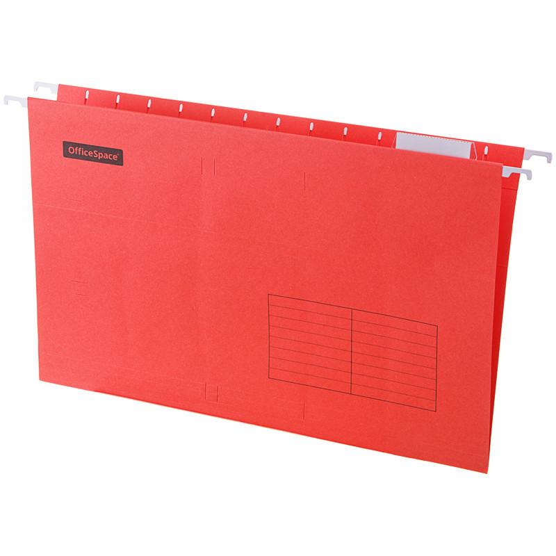 Папка подвесная А4, 365х240мм, картон, красная, 80 листов, 10 штук, OfficeSpace Foolscap