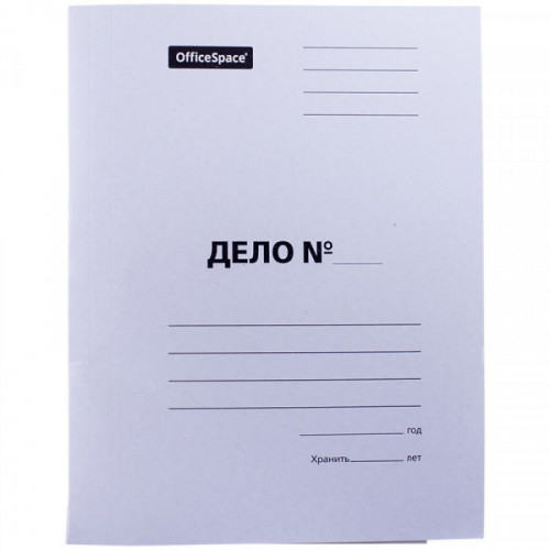 """Скоросшиватель OfficeSpace """"Дело"""", картон мелованный, 380г/м2, белый, пробитый, до 200л."""