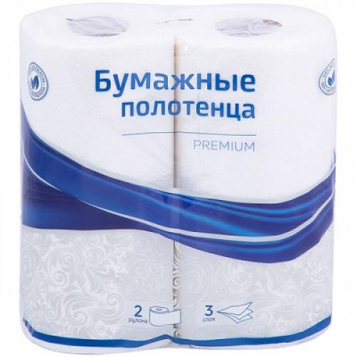 """Полотенца бумажные 3-слойные OfficeClean """"Premium"""" белые 2 рулона, 11м/рул, тиснение"""