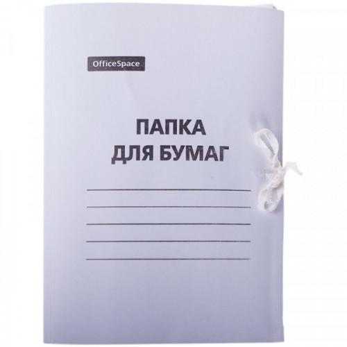 Папка с завязками OfficeSpace, картон мелованный, 300г/м2, белый, до 200л.